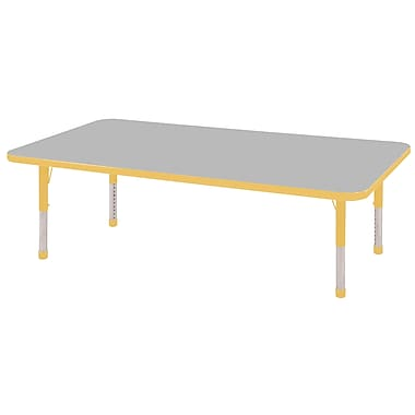 "30""x60"" Rectangular T-Mold Activity Table, Grey/Yellow/Chunky"