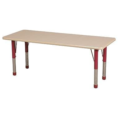 "24""x72"" Rectangular T-Mold Activity Table, Maple/Maple/Red/Chunky"