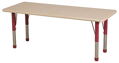 "24""x60"" Rectangular T-Mold Activity Table, Maple/Maple/Red/Chunky"