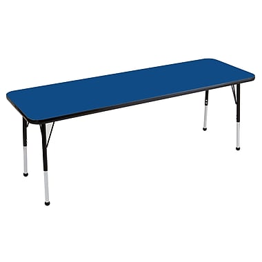 "24""x60"" Rectangular T-Mold Activity Table, Blue/Black/Toddler Ball"
