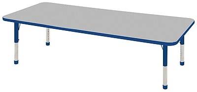 "24""x60"" Rectangular T-Mold Activity Table, Grey/Blue/Chunky"