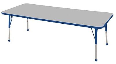 "24""x72"" Rectangular T-Mold Activity Table, Grey/Blue/Standard Ball"