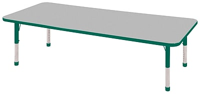 "24""x72"" Rectangular T-Mold Activity Table, Grey/Green/Chunky"
