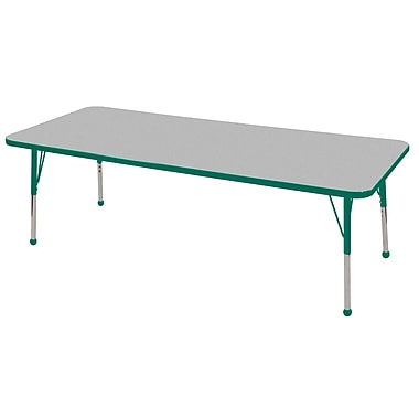 "24""x72"" Rectangular T-Mold Activity Table, Grey/Green/Standard Ball"