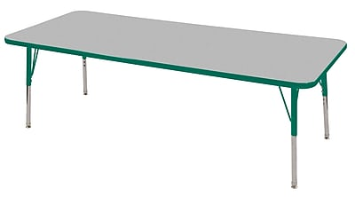 "24""x72"" Rectangular T-Mold Activity Table, Grey/Green/Standard Swivel"