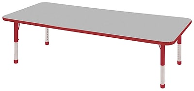 "24""x72"" Rectangular T-Mold Activity Table, Grey/Red/Chunky"