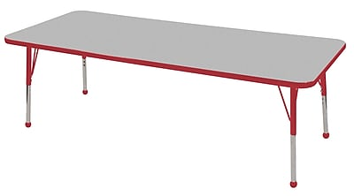 "24""x72"" Rectangular T-Mold Activity Table, Grey/Red/Toddler Ball"