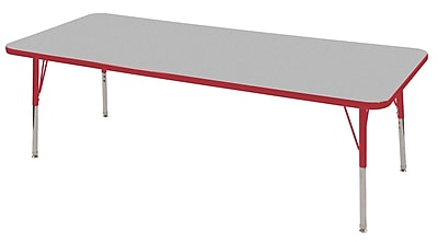 "24""x72"" Rectangular T-Mold Activity Table, Grey/Red/Toddler Swivel"