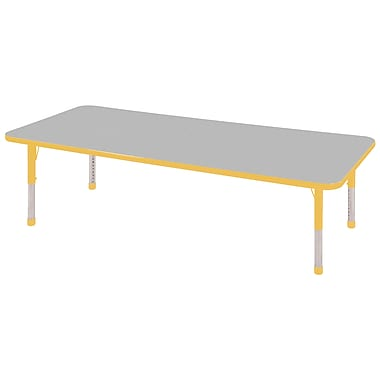 "24""x72"" Rectangular T-Mold Activity Table, Grey/Yellow/Chunky"