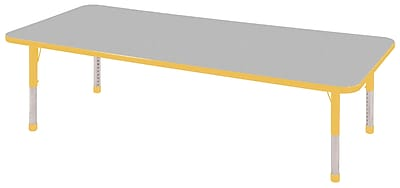 "30""x72"" Rectangular T-Mold Activity Table, Grey/Yellow/Chunky"