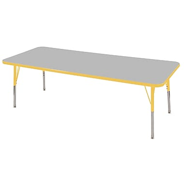 "30""x72"" Rectangular T-Mold Activity Table, Grey/Yellow/Standard Swivel"