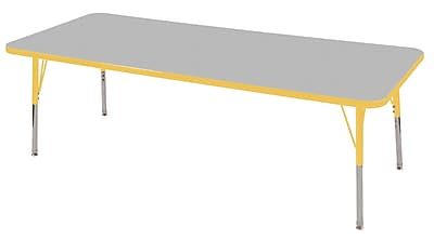"30""x72"" Rectangular T-Mold Activity Table, Grey/Yellow/Standard Swivel"