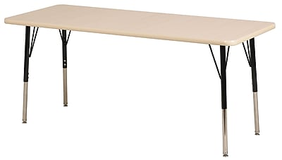 "ECR4Kids 30""x60"" Trapezoid T-Mold Activity Table, Maple/Maple/Navy/Standard Ball"