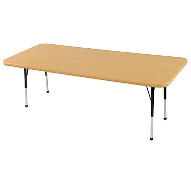 "24""x72"" Rectangular T-Mold Activity Table, Maple/Maple/Black/Toddler Ball"