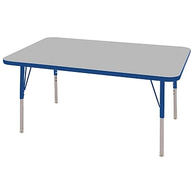 "30""x48"" Rectangular T-Mold Activity Table, Grey/Blue/Toddler Swivel"