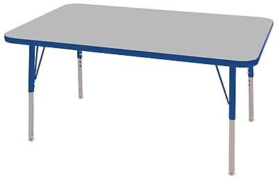 "30""x48"" Rectangular T-Mold Activity Table, Grey/Blue/Toddler Swivel"