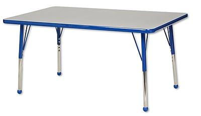 "30""x48"" Rectangular T-Mold Activity Table, Grey/Blue/Toddler Ball"