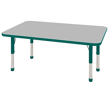 "24""x60"" Rectangular T-Mold Activity Table, Grey/Green/Chunky"