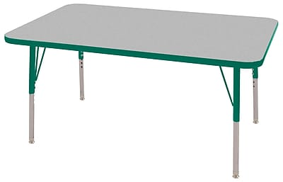 "30""x48"" Rectangular T-Mold Activity Table, Grey/Green/Standard Swivel"