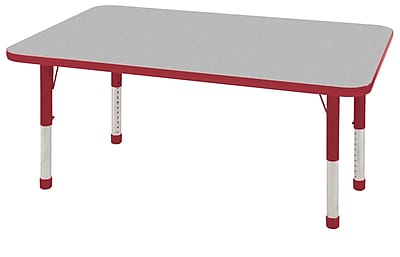 """30""""x48"""" Rectangular T-Mold Activity Table, Grey/Red/Chunky"""