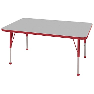 "30""x48"" Rectangular T-Mold Activity Table, Grey/Red/Standard Ball"