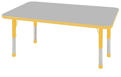"30""x48"" Rectangular T-Mold Activity Table, Grey/Yellow/Chunky"