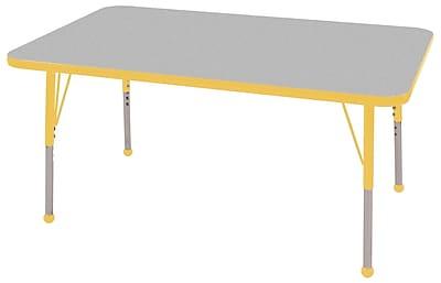 "30""x48"" Rectangular T-Mold Activity Table, Grey/Yellow/Toddler Ball"