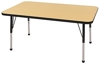 "30""x48"" Rectangular T-Mold Activity Table, Maple/Black/Standard Ball"