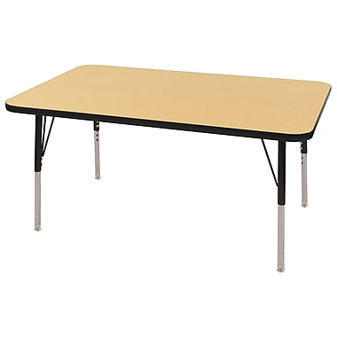 "24""x60"" Rectangular T-Mold Activity Table, Maple/Black/Standard Swivel"
