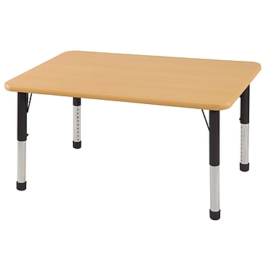 ECR4Kids 24in. x 48in. Trap T-Mold Table Maple/Red -Chunky Legs (ELR-14126-MRD-C)