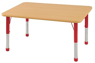 "24""x48"" Rectangular T-Mold Activity Table, Maple/Maple/Red/Chunky"