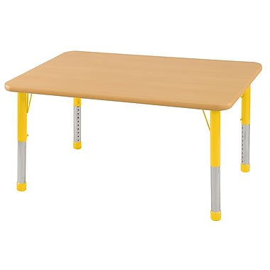 "24""x60"" Rectangular T-Mold Activity Table, Maple/Maple/Yellow/Chunky"