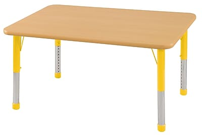 ECR4Kids T-Mold 24in. x 36in. Rectangular Activity Table With Chunky legs & Standard Glide, Maple/Maple/Yellow