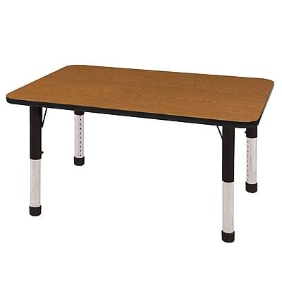 "24""x48"" Rectangular T-Mold Activity Table, Oak/Black/Chunky"