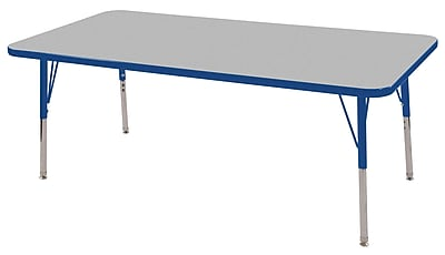 "30""x60"" Rectangular T-Mold Activity Table, Grey/Blue/Standard Swivel"