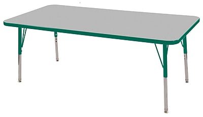 "30""x60"" Rectangular T-Mold Activity Table, Grey/Green/Standard Swivel"
