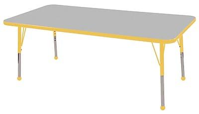 "24""x60"" Rectangular T-Mold Activity Table, Grey/Yellow/Toddler Ball"