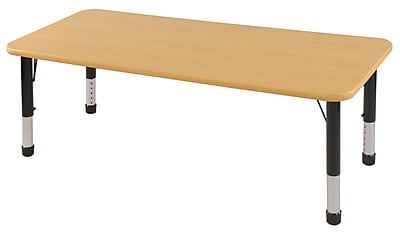 "30""x60"" Rectangular T-Mold Activity Table, Maple/Maple/Black/Chunky"