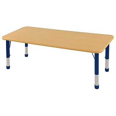 "24""x60"" Rectangular T-Mold Activity Table, Maple/Maple/Blue/Chunky"