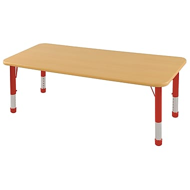 """30""""x60"""" Rectangular T-Mold Activity Table, Maple/Maple/Red/Chunky"""