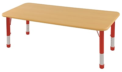 "30""x72"" Rectangular T-Mold Activity Table, Maple/Maple/Red/Chunky"