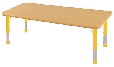 "36""x72"" Rectangular T-Mold Activity Table, Maple/Maple/Yellow/Chunky"