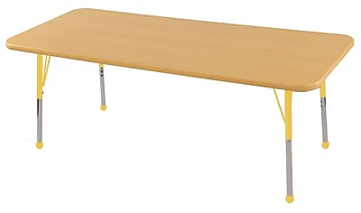 "24""x60"" Rectangular T-Mold Activity Table, Maple/Maple/Yellow/Toddler Ball"