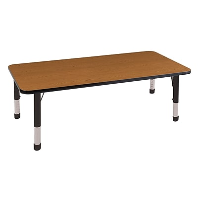"30""x72"" Rectangular T-Mold Activity Table, Oak/Black/Chunky"