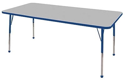"36""x72"" Rectangular T-Mold Activity Table, Grey/Blue/Standard Ball"