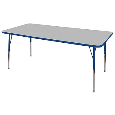 "36""x72"" Rectangular T-Mold Activity Table, Grey/Blue/Standard Swivel"
