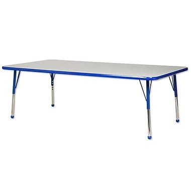 "24""x60"" Rectangular T-Mold Activity Table, Grey/Blue/Standard Ball"