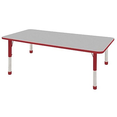 "36""x72"" Rectangular T-Mold Activity Table, Grey/Red/Chunky"