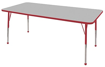 "30""x72"" Rectangular T-Mold Activity Table, Grey/Red/Standard Ball"