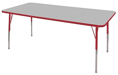 "36""x72"" Rectangular T-Mold Activity Table, Grey/Red/Toddler Swivel"